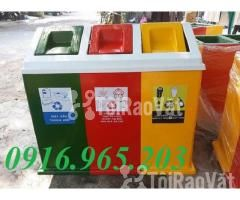 Thùng rác chia 3 ngăn, thùng phân loại rác công cộng 3 ngăn - Hình ảnh 2/6