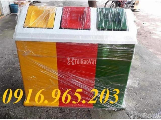 Thùng rác chia 3 ngăn, thùng phân loại rác công cộng 3 ngăn - 5/6