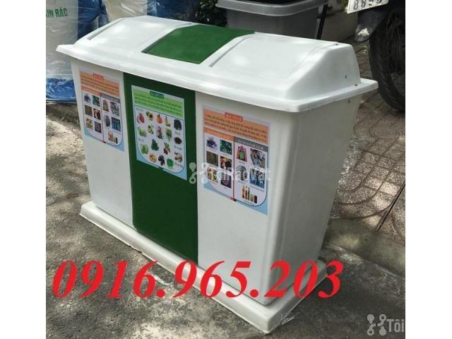 Thùng rác chia 3 ngăn, thùng phân loại rác công cộng 3 ngăn - 6/6