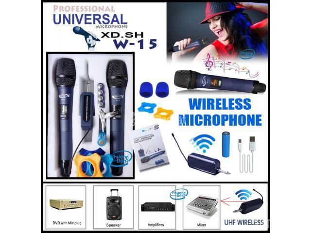 Bộ 2 Micro Không Dây Universal XD. SH W-15 cho Loa kéo, Amply karaoke - 1/5