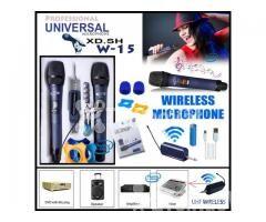 Bộ 2 Micro Không Dây Universal XD. SH W-15 cho Loa kéo, Amply karaoke - Hình ảnh 1/5