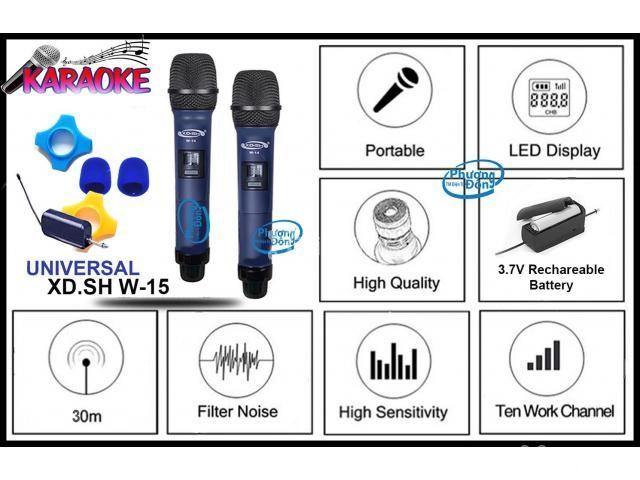 Bộ 2 Micro Không Dây Universal XD. SH W-15 cho Loa kéo, Amply karaoke - 4/5