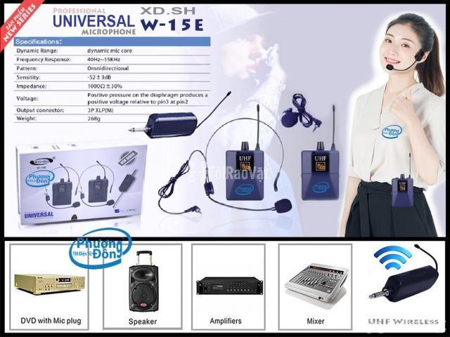 Bộ 2 Micro không dây Đeo tai và Cài áo Universal XD-SH W-15E UHF - 1/6