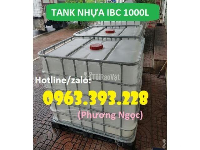 Tank nhựa 1 khối nhập khẩu, bồn 1000L chứa hóa chất, thùng nhựa đựng n - 1/4