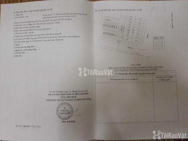 Cần bán gấp đất 6x20 MT đường G14 cũ (3A mới) KDC Vĩnh Lộc Bình Tân - 2/2