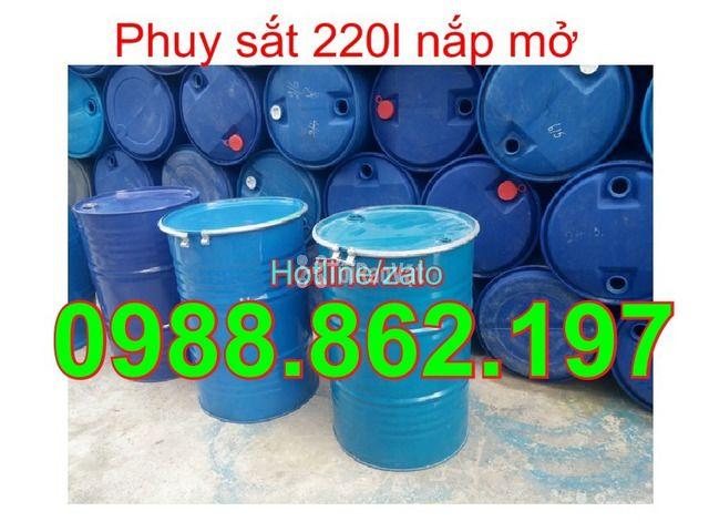 Thùng phuy cũ, thùng phuy sắt, thùng phuy 220L nắp kín, thùng phuy 220 - 1/6
