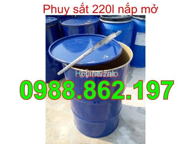 Thùng phuy cũ, thùng phuy sắt, thùng phuy 220L nắp kín, thùng phuy 220 - 3/6