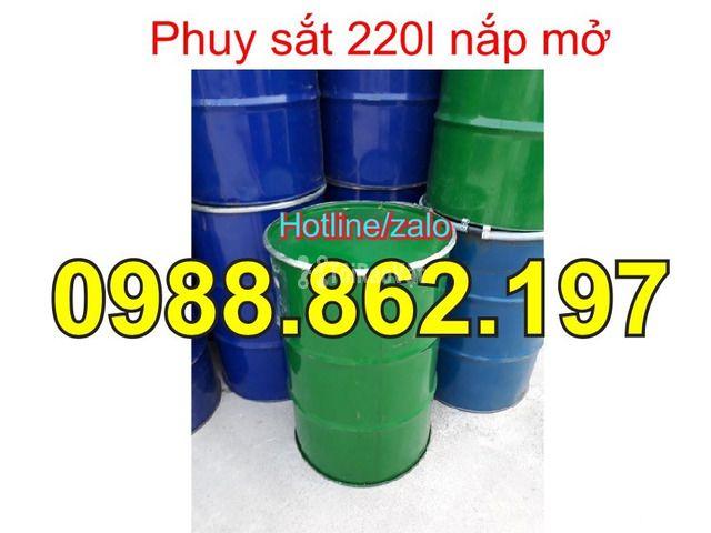 Thùng phuy cũ, thùng phuy sắt, thùng phuy 220L nắp kín, thùng phuy 220 - 5/6