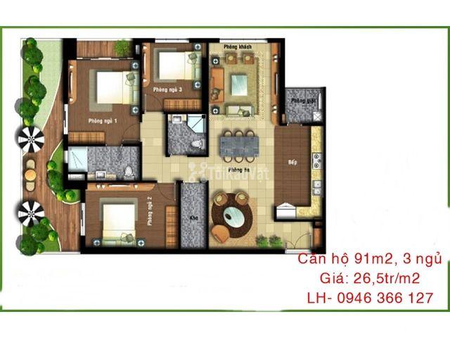Cần bán căn hộ 3 phòng ngủ, giá 26,5tr/m2 đường Hoàng Quốc Việt, Hà Nộ - 2/2