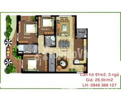 Cần bán căn hộ 3 phòng ngủ, giá 26,5tr/m2 đường Hoàng Quốc Việt, Hà Nộ - Hình ảnh 2/2