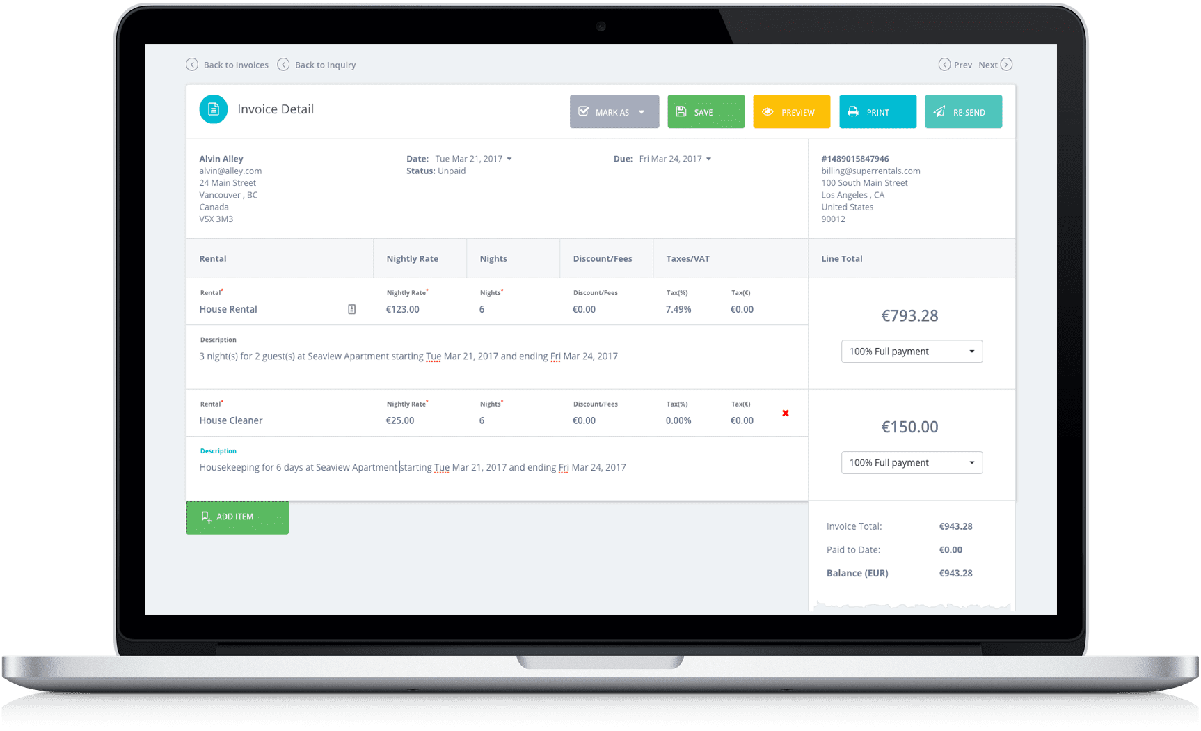 Tokeet Shortterm Rental Management Software - Invoice simple vancouver