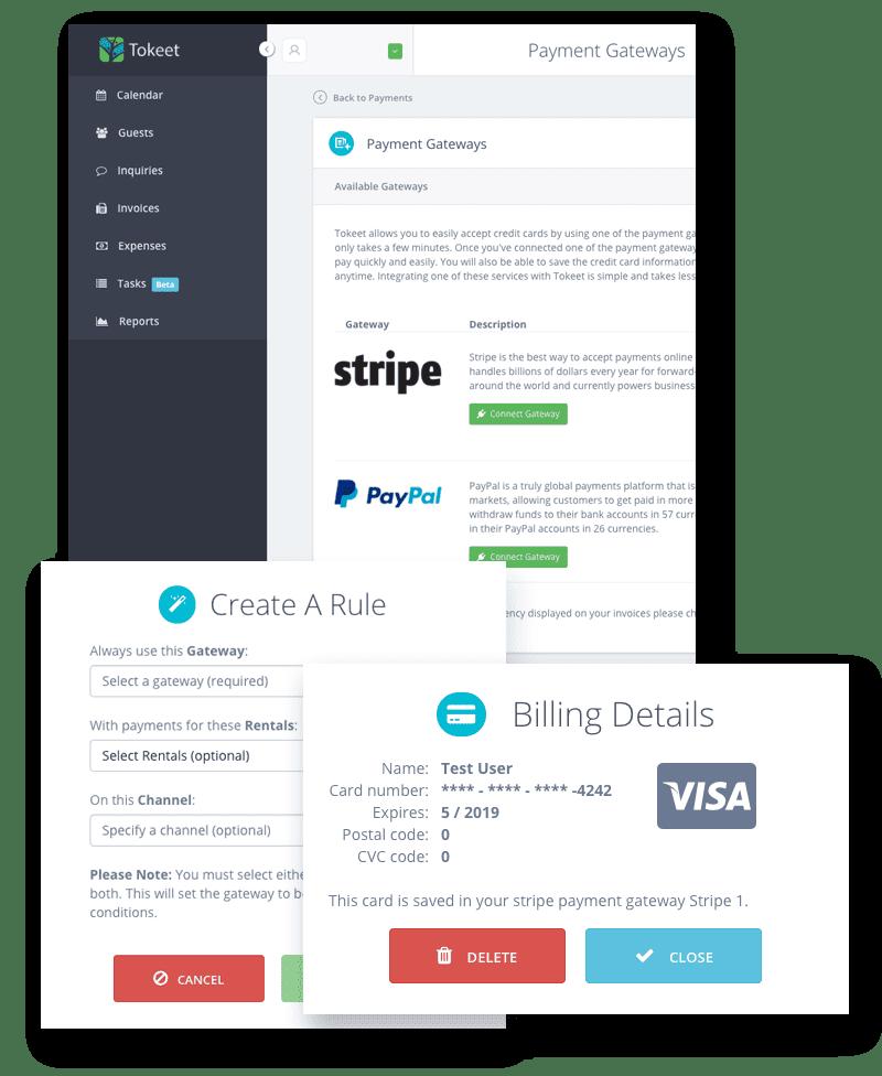 Tokeet Shortterm Rental Management Software - Send invoice using stripe