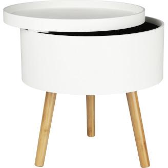 Säilytyspöytä 38 x 40 cm valkoinen/puu