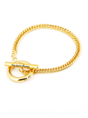 Gold Round Bracelet with Gold Plated Titanium
