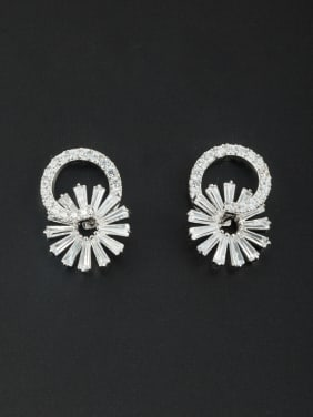 Flower Platinum Plated Zircon White Studs stud Earring