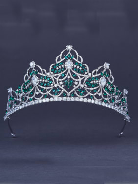Platinum Plated  Green Zircon Wedding Crown