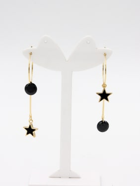 Gold Plated Star Black Zircon Beautiful Hoop hoop Earring