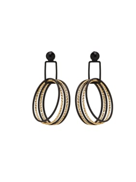 Round style with Gun Color plated Zinc Alloy Drop drop Earring
