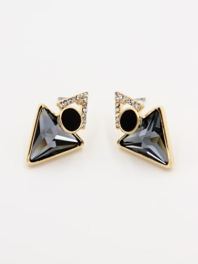 Blacksmith Made Gold Plated Swarovski Crystals Geometric Drop stud Earring