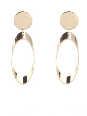 Gold color Gold Plated Zinc Alloy Round Drop drop Earring