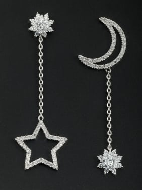 Custom White Star Drop drop Earring with Platinum Plated