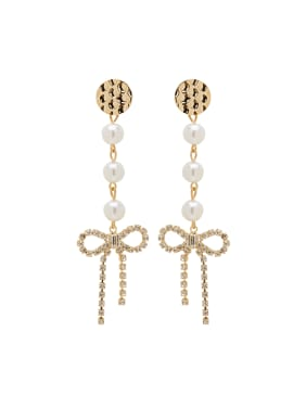 Gold Charm Youself ! Gold Plated Zinc Alloy Pearl Drop drop Earring