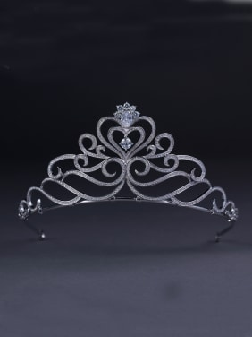 Platinum Plated Heart White Zircon Beautiful Wedding Crown