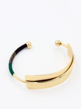 Personalized Gold Plated Multi-Color Geometric  Bangle