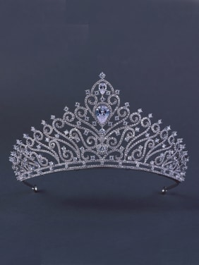 Platinum Plated Zircon White Wedding Crown