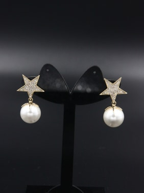 Model No NY37051-002 Custom White Star Drop drop Earring with Gold Plated