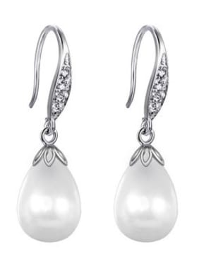 Copper With Platinum Plated Fashion Water Drop  Pearl  Hook Earrings