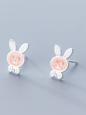 925 Sterling Silver With Platinum Plated Cute rabbit Stud Earrings