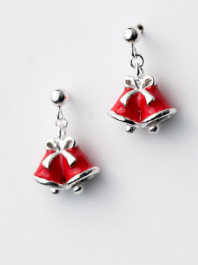 925 Sterling Silver With Christmas bell Cute red Drop Earrings