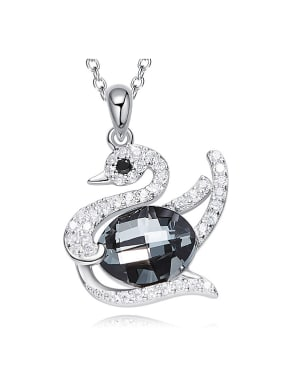 Fashion Shiny Swarovski Crystals-covered Swan 925 Silver Pendant