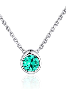 925 Sterling Silver With Cubic Zirconia Cute Round Necklaces