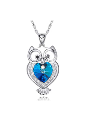 Fashion Little Owl Swarovski Crystals Pendant Copper Necklace