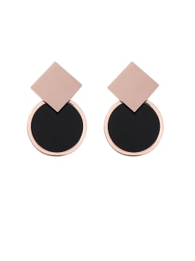 Stainless Steel With Rose Gold Plated Personality Geometric Stud Earrings