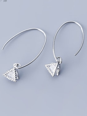 925 Sterling Silver With Cubic Zirconia Simplistic Triangle Hook Earrings