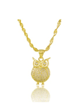 Lovely Owl Shaped Shimmering Rhinestones Copper Necklace