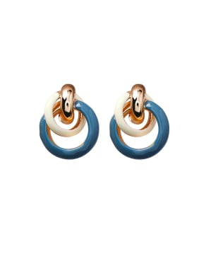 Alloy With Rose Gold Plated Fashion Round Stud Earrings