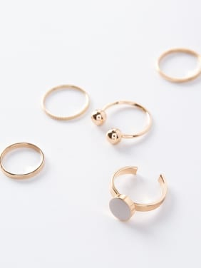 Alloy With Gold Plated Trendy Ball Stacking Rings