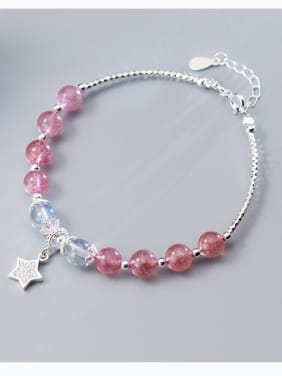 925 Sterling Silver With star & strawberry crystals Bracelets