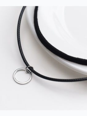 925 Sterling Silver With Simplistic Double Black Rope Geometric Necklaces