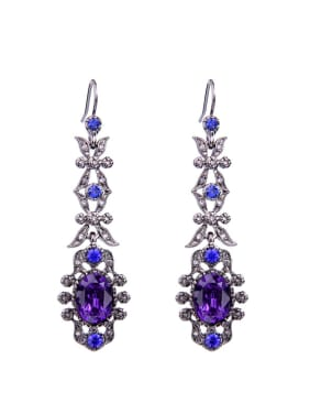 Artificial Crystals Sparking Flower Shaped Drop Earrings