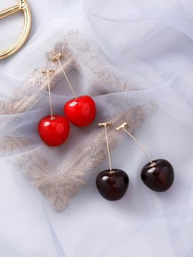 Alloy With Acrylic Cute Friut  Cherry Drop Earrings