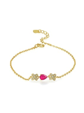 Water Drop Cross Ruby Gold Plated Fashion Bracelet