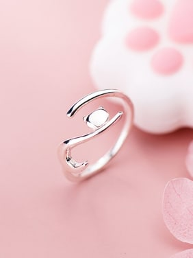 925 Sterling Silver With Platinum Plated Simplistic Animal Free Size  Rings