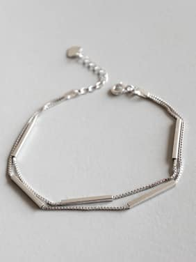 Sterling Silver long tube design double Bracelet