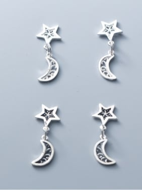 925 Sterling Silver With Antique Silver Plated Vintage Star Moon  Pendant
