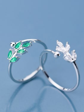 925 Sterling Silver With Platinum Plated Cute Leaf Free Size  Rings